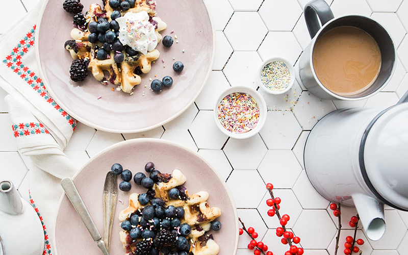 Sunday brunch with waffle and tea.